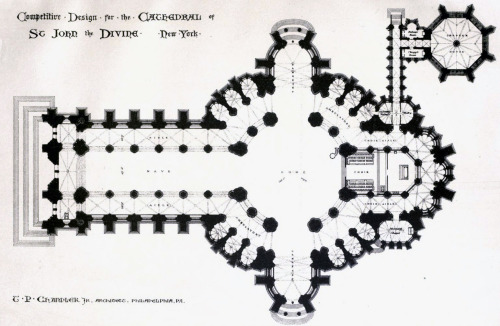 archimaps:  Chandler's design for the Cathedral of St. John the Divine, New York City