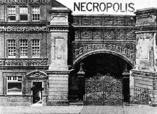 Entrance to Necropolis Station, Waterloo, London, 1890: Just outside Woking, in Surrey, is Brookwood Cemetery (also known as the London Necropolis) The cemetery was opened by the London Necropolis Company in 1854 as an out-of-town cemetery; London was struggling to accommodate the dead in its inner city graveyards, and so this vast space (500 acres) was acquired. The dead of London would reach the cemetery via a special train station, the London Necropolis Railway Station, which was next to Waterloo. The photograph above shown the entrance to the Necropolis Station, with its beautifully ornate gates, waiting to welcome the dead on their last journey.