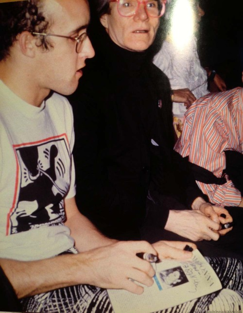 Happy Birthday Keith Haring (05.04.1958 – 02.16.1990): Pictured here w/ Andy Warhol while signing a Madonna flyer in 1985.