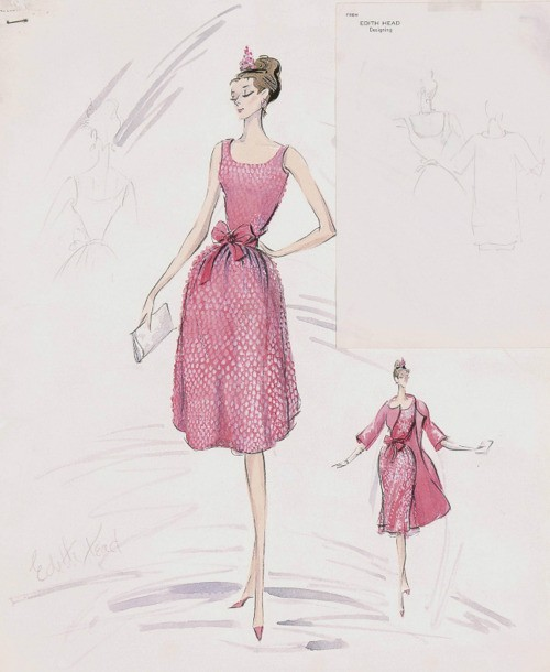 Vintage Tuesday: Great films, Great Costumes.  Sketches by Edith Head, the Golden Age costume designer.  Sketch by Edith Head of the costume designed by Hubert de Givenchy for Audrey Hepburn in 'Breakfast at Tiffany's'
