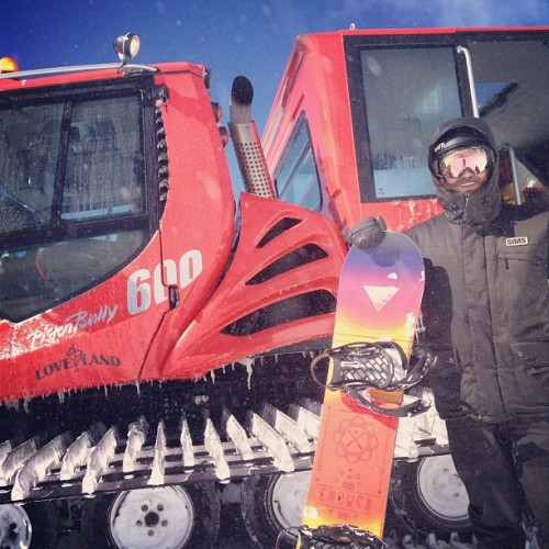 Brand Manager Marc Vitelli ready to hop in the #Loveland ridge cat! #shredstagram #shred #snowboard #colorado