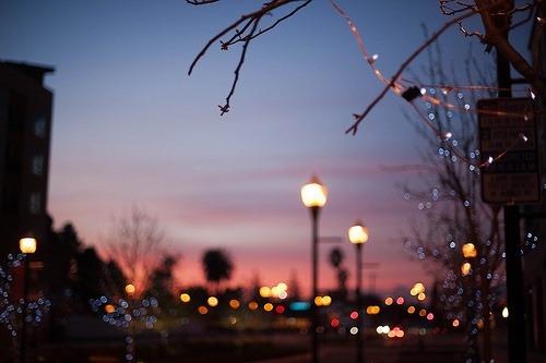 luces ciudad amanecer anochecer
