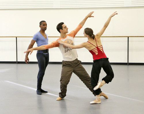 Justin Peck rehearsing Ashley Bouder and Craig Hall in Year of the Rabbit (2012) (Paul Kolnik)