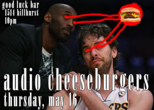 No more Lakers. No more Clippers. At least there's still Audio Cheeseburgers at the Good Luck Bar.On Thursday, May 16th at 10pm, I'll be tossing up some jump shots from downtown and lobbing alley-oops to all the patrons in attendance. Solid sets of tunes all night, so cut through that zone defense and dunk a sonic assist from the usual stylings: Garage Rock British Invasion Funky Stunners Modern Lo-Fi And plenty of other assorted tracks Don't roll your ankle trying to win the game. Pass the rock and relax with some cool tunes, chill drinks and good times. Music starts at 10. Still chill. Still unpretentious.