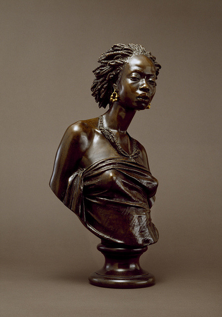 Charles-Henri-Joseph Cordier - African Venus, 1851  Cordier submitted a plaster cast of the bust of an African visitor to Paris to the Salon of 1848, and two years later he again entered it as a bronze. A young African woman served as the model for this companion piece in 1851. Regarded as powerful expressions of nobility and dignity, these sculptures proved to be highly popular: casts were acquired by the Museum of National History in Paris and also by Queen Victoria. The Walters' pair were cast by the Paris foundry Eck and Durand in 1852. These bronzes were esteemed by 19th-century viewers as expressions of human pride and dignity in the face of grave injustice.