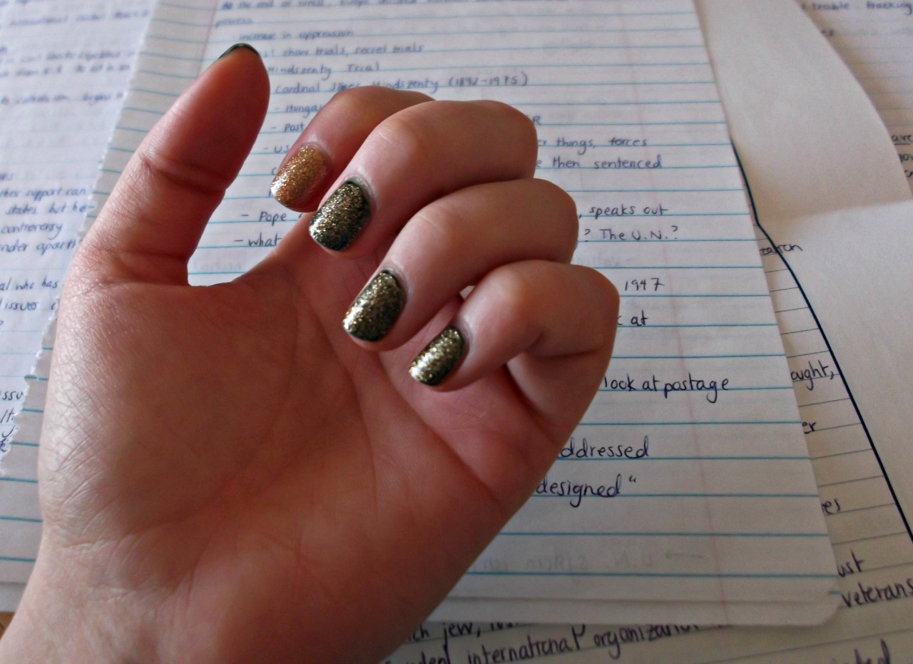 Got distracted by my nails while studying… oops. First Christmas-y manicure! I layered one coat of Butter London West End Wonderland over British Racing Green on all my fingers but my index, where I layered two coats of WEW over Tea With the Queen. Good luck to everyone on finals!