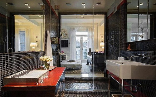 adultrunaway:  Miranda Kerr's NYC apartment see-through bathroom