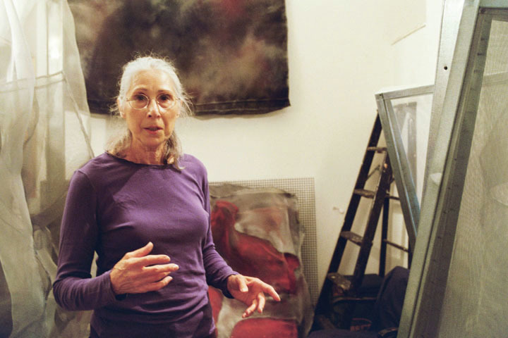 "Got a Girl Crush On: Ellen Grossman, artist also known as the ""adorable older lady that met Jay-Z on the subway""  1-4 Foldover/Green 9""x12""green gel pen ink on black paper 2010  2-11 Elucidation (detail)  25""x39"" metallic gel pen on blue paper, 2011  Via the NY Times piece by a friend of hers:        ""To what does she attribute this new found celebrity? Given the economy, the wars and talk of the end of the world, ""I think the world is in the mood for a sweet, old lady,"" she said.""         Yes we are!"