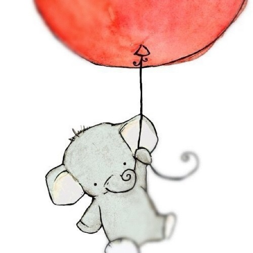 kelseyscreamsforyou:  #waterpaint #elephant #balloon #redballoon #red #cute
