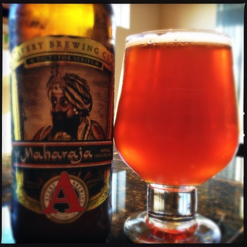 "I've been meaning to try the Avery Brewing ""Maharaja"" for a while now after great reviews IMO the hype equals the experience. Maybe the most tropical combo of hops in any Imperial IPA I've had to date. A little boozy at 10.4%, but the finish is clean and malt balances it out. Great color. #nofilter #averybrewing #craftbeer"