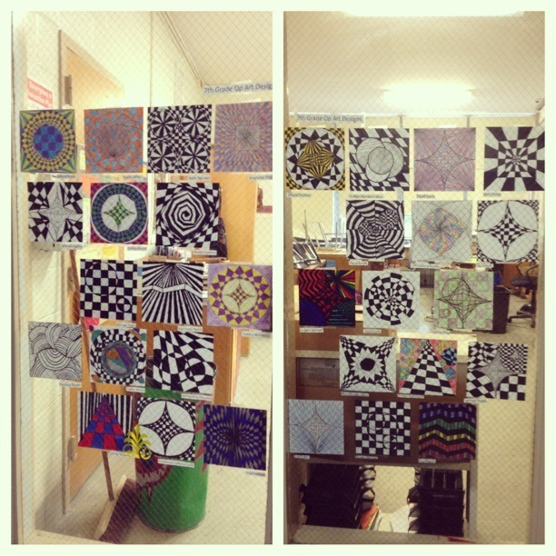 Hung up some artwork on the windows next to my room! 7th grade op art. I love displaying my kids' work everywhere!