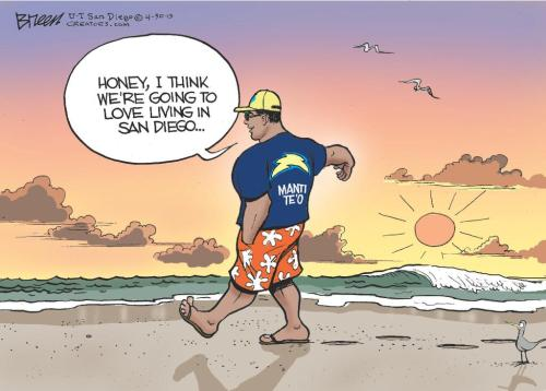 bleacherreport:  The San Diego Union-Tribune cartoonist goes right to work on Manti Te'o.  Damn