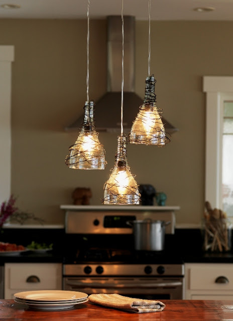 elorablue:  Salvaged Recycled Wine Bottle Pendant Lights