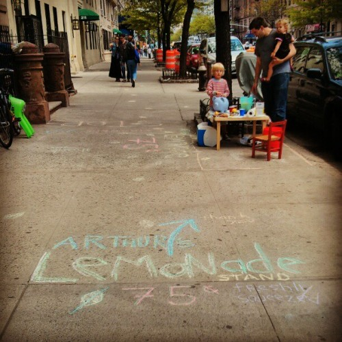 First lemonade stand of the season. The chalk art directed me down the block to another kid selling cookies.