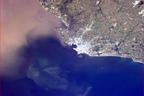 Montevideo, Uruguay - the sharp points of land making cowlicks in Rio de La Plata.