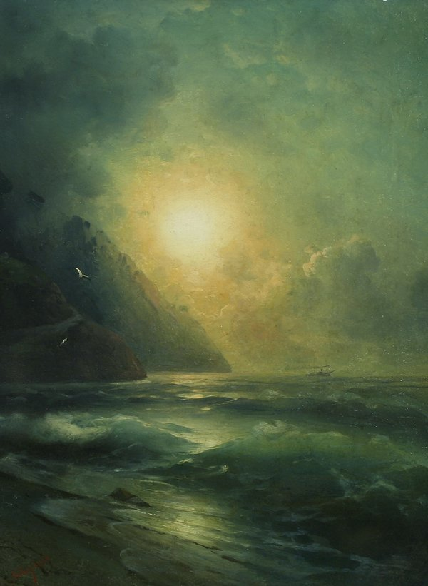 catonhottinroof:   Attributed to Ivan Konstantinovich Aivazovsky      Luminous Sunset off the Coast