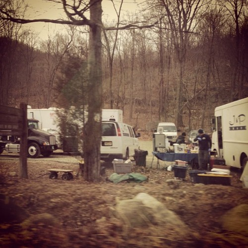 They're filming the second hunger game movie in ramapo state park! #catchingfire x