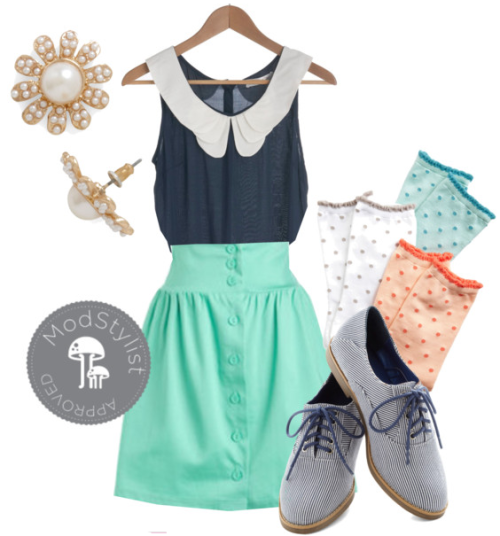 Style a cute peter pan collar top with a pastel skirt, socks and brogues for a cute spring look! Check out our Spring Trends category for more inspiration! <3 Amy, ModStylist Need styling suggestions, trend tips, or dress details? Ask a ModStylist and your question might be featured on our feed!