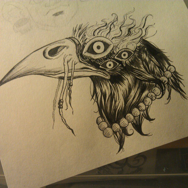 #ink #drawing #bird #beads #sketchbook
