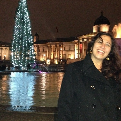 Trafalgar Square is all dressed up for Christmas. London is so great. (at Trafalgar Square)