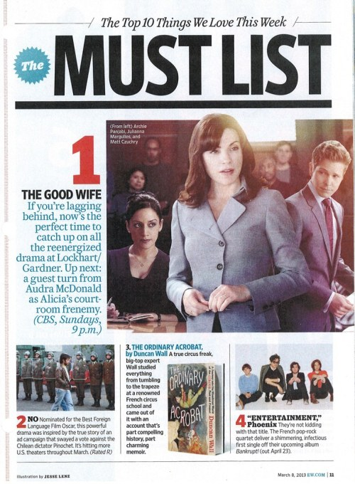 #TheGoodWife is NUMBER ONE on @EW 's Top 10 Things We Love This Week - MUST LIST!