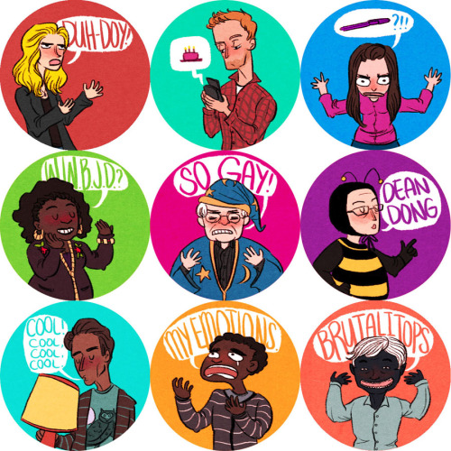 wearfandom:  Community buttons (9) - $15 for set on Storenvy