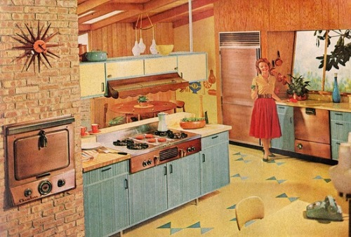 theniftyfifties:  Late 1950s kitchen design.