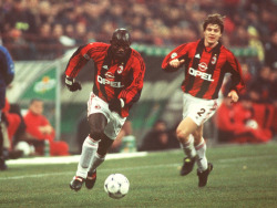 footballarchive:  George Weah and Thomas Helveg, AC Milan, January 1999.