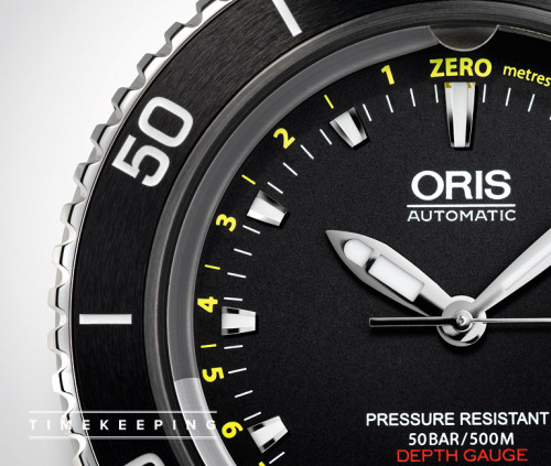 Oris Aquis Depth Gauge. An Oris with an orifice.