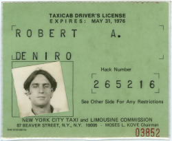 Robert De Niro's Taxicab License, 1975 #