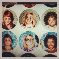 New buttons with our headz on them. Photos by Sarah Cass duh