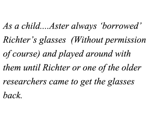 As a child… Aster always 'borrowed' Richter's glasses (Without permission of course) and played around with them until Richter or one of the older researchers came to get the glasses back. Submitted by blond-scientist-of-sybak