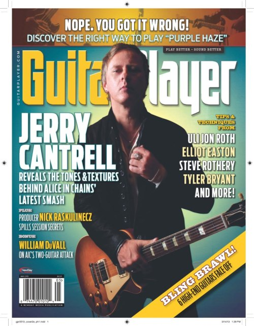Sneak preview of Jerry Cantrell's May 2013 Guitar Player cover
