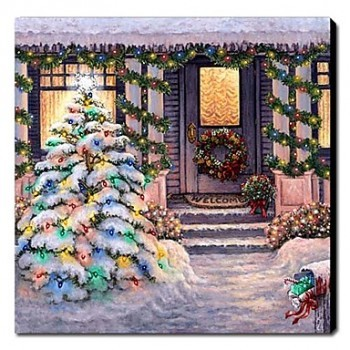 Hand-painted Oil Painting Landscape Christmas Silent Night 1210-LS0001