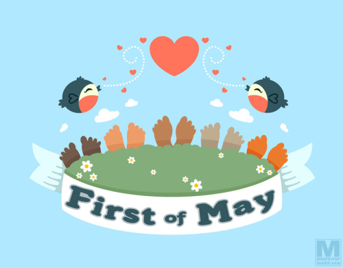 An illustration for the #FirstofMay. Beware hidden acorns and poison ivy.