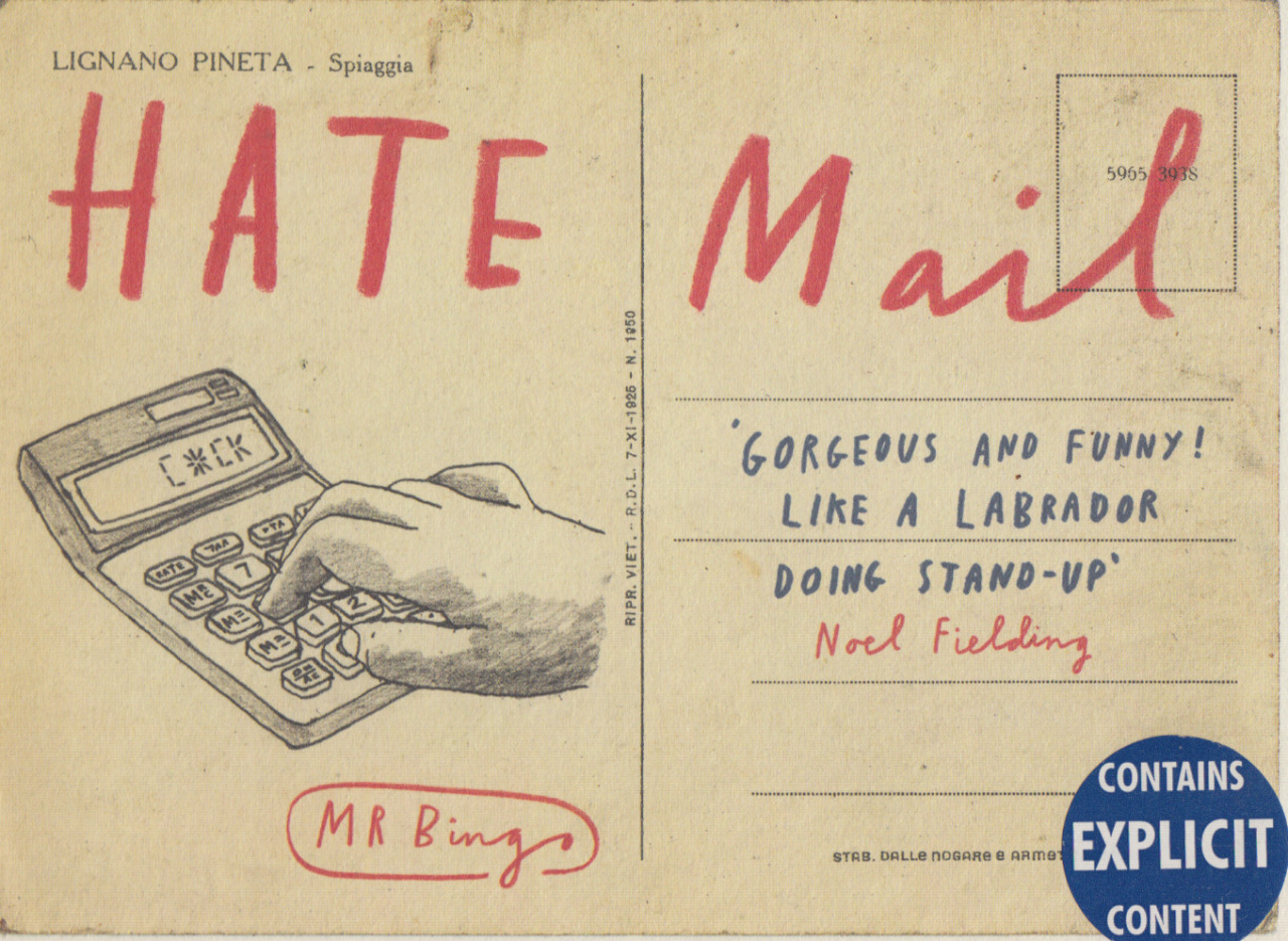 intooishun:  Hate Mail - Mr Bingo Witty illustrated postcards created by Mr Bingo  Hate Mail is Available to purchase Here