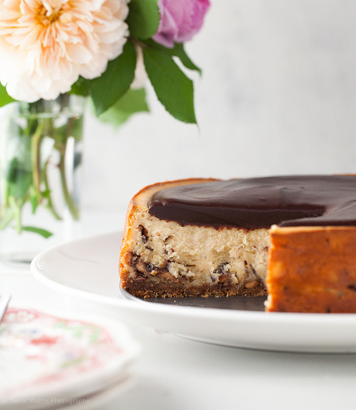 bakeddd:  heath bar cheesecake with chocolate ganache glaze click here for recipe