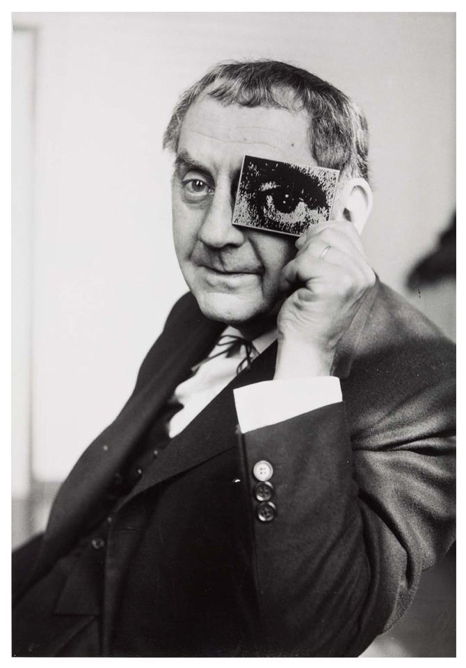 "chagalov:  Man Ray with ""photokina-Auge"", photokina 1960 -by Charles Fraser  [+] Exhibition:Man Ray, The Renate and L. Fritz Gruber CollectionLudwig Museum (until 5 May 2013) via le journal de la photographie"