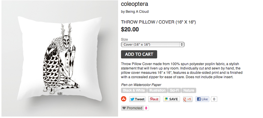 "Now you can buy it online! the new throw pillow "" Coleoptera "" on my Society6 store. Direct Link:http://society6.com/Enlasnubes/coleoptera-wqF_Pillow#18=126"