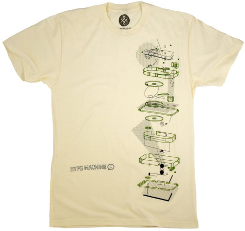 New t-shirt! We exploded our phonograph for a look at what's inside the Hype Machine.  Limited edition, available at Supervague for 2 weeks only.