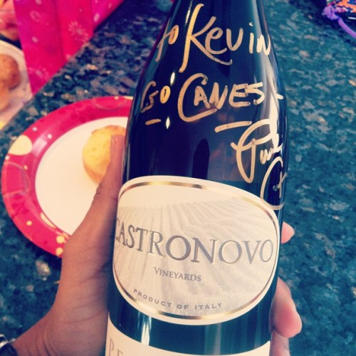 Autographed bottle of Castronovo vineyards wine. Thanks nancy!  #wine #canes