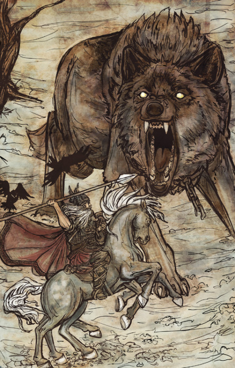 amongancientwoods:  Odin vs. Fenrir