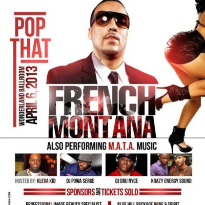 "IT DON'T STOP -> @FRENCHMONTANA ""LIVE"" this Saturday April 6th 2013 at WONDERLAND BALLROOM (Revere, MA) with @DJDRUNYCE @DJPOWASERGE & @DJMYOUTTHD rocking from 8pm-1am $40 adv tix SOLD OUT pay more at the door to enter."