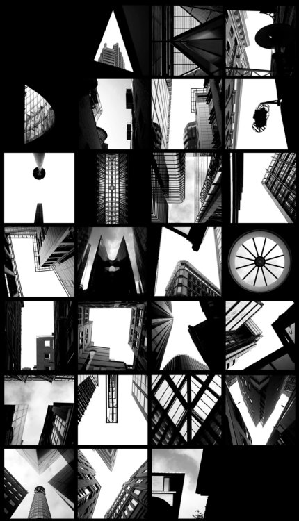 typeworship:  Alphatecture How brilliantly executed. This reminds you to look up once and a while. maybeitsgreat:  ALPHATECTURE by Peter Defty, UK   found alphabet
