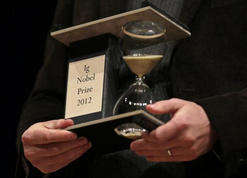 "sciencesoup:   The Ig Nobel Prize Everyone needs to pause for a moment and appreciate the existence of the Ig Nobel Prize. These annual awards are organized by the scientific humour magazine Annals of Improbable Research and are basically the Nobel Prize's bastard little brother, awarded to bizarre, imaginative and seemingly pointless scientific achievements. Fantastic achievements in science are often also fantastically absurd, and the Ig Nobel Prize honours these in a good-humoured, tongue-in-cheek way, aiming to ""first make people laugh, and then make them think."" Some of my favourite awards from the last few years include: 2012 Neuroscience Prize: For testing out MRI on a dead salmon to show that brain researchers can see meaningful brain activity in nearly anything. 2012 Literature Prize: For a report issued about reports about reports that recommends the preparation of a report about the report about reports about reports. 2012 Medicine Prize: For advising doctors who perform colonoscopies how to minimize the chance of their patients exploding. 2011 Peace Prize: For demonstrating that the problem of illegally parked luxury cars can be solved by running them over with an armoured tank. 2010 Engineering Prize: For perfecting a method to collect whale snot using a remote-control helicopter. 2009 Public Health Prize: For inventing a bra that can be converted into two protective face masks in an emergency. 2008 Cognitive Science Prize: For discovering that slime molds can solve puzzles. 2007 Peace Prize: For research into a chemical weapon that would make enemy soldiers become sexually irresistible to each other. See more winners here!"