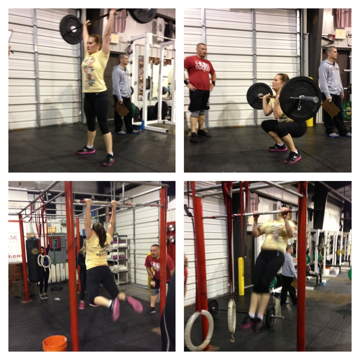 "The final WOD of the Open and my wife and I got to cheer each other on. Couldn't think of a better way to close this out. What will stand out in my mind is not what I did or did not do, but more of her accomplishments. With each WOD she initially thought it was beyond her, yet she still went in and achieved above and beyond her expectations. I think she proved a lot to herself that she is more capable than she realizes. That has been really awesome to watch. Last night, was no different. You see, up until last night, she was still using the smallest band for pull-ups and had never done an unbanded pull-up. I couldn't be more proud. maeinanutshell:  13.5 Went into this ""praying"" for one C2B! Last pull-ups in a WOD were on the smallest bands which i just moved to in February. Came out with 8 C2B!!! Feeling accomplished and never more happy that I entered the Open! Sad that it is over… Next games season is when?? ;-)"