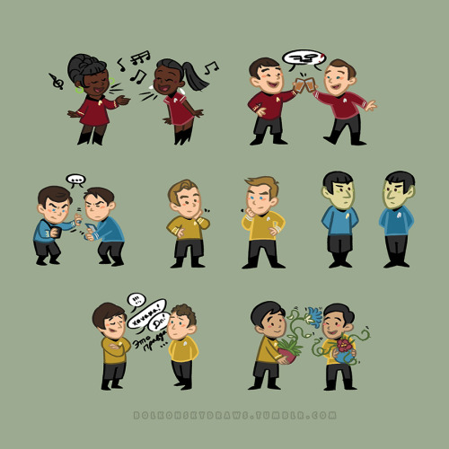 bolkonskydraws:  I finished the set! TOS meets AOS. :) Also available on all kinds of things over on society6! Bonus Carol! I didn't include her since there's, you know, nothing on her in TOS until Wrath of Khan. So I made stuff up.
