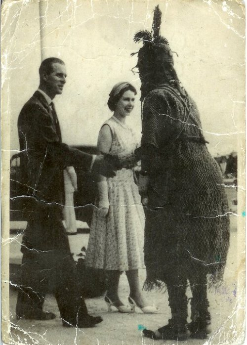 wildoute:  The Queen and Prince Philip meet the Oba of Benin on the 1956 Royal tour of Nigeria.