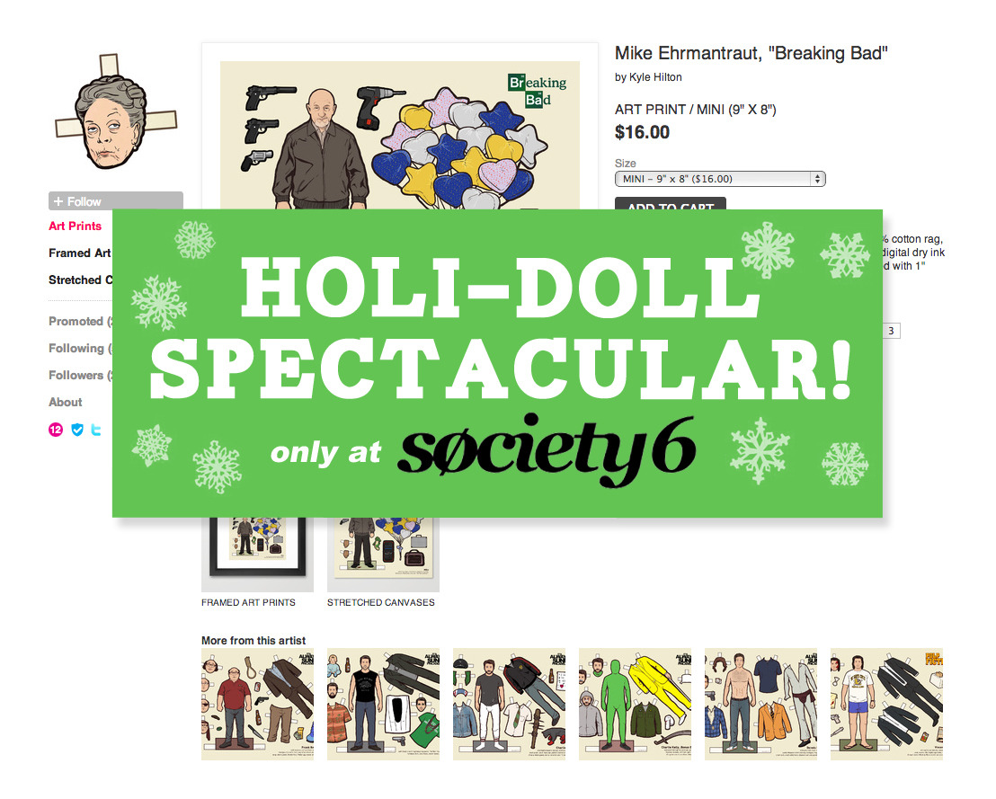 flannelanimal:  Buy a Doll, Give a Doll! Until Dec. 18th, all proceeds from any Paper Doll prints sold at my Society 6 shop will go directly to giving a child in need a toy this holiday season! So, go nuts! Small and large prints, as well as framed prints are available. Thanks to everyone who's ordered this month already (almost $100 in toys so far!) *Most orders take 3-5 days to ship, so order quickly!