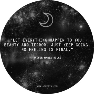 Let everything happen to you. Beauty and terror. Just keep going. No feeling is final. - Rainer Maria Rilke  aeongrey:  Words of influence.. #rainermariarilke #quote #poet #poetry